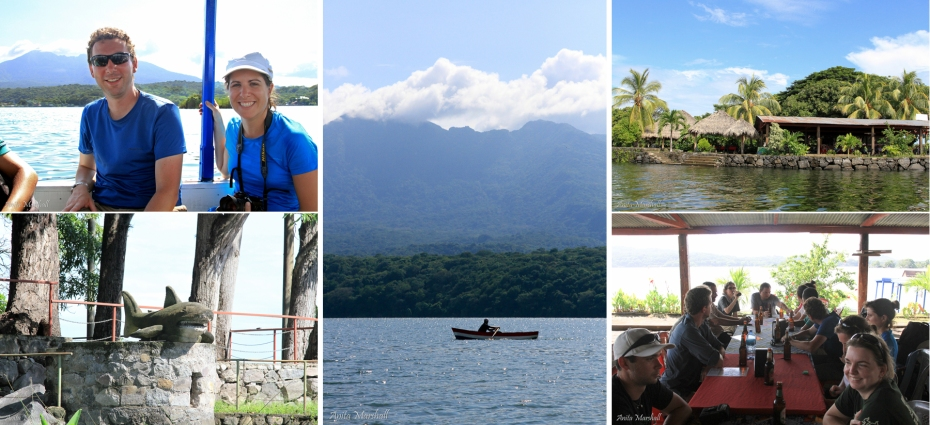 An amazing afternoon on Lake Nicaragua. Top left: Sylvain and Auralie take in the view from the boat. Bottom left: the only one of the famous freshwater sharks we spotted. Center: Great view of Mombacho from the boat. Top right: the wonderful cafe that was our lunch stop. It was the only thing on a small island on the lake. Bottom Right: A fantastic lunch in an exotic locale. Great company, great view!